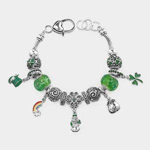 St Patricks Day clover green  hat charm bracelet